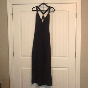 Navy floor length dress. High leg slit. Size M